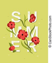 Abstract vector lettering with word Summer and red flowers.