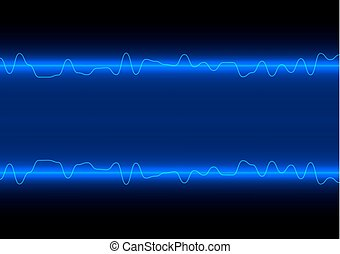 abstract vector line wave on blue technology background