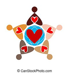 Abstract vector logo combining multicolored people in the form of star.