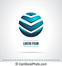 Abstract Vector Logo Design Template. Creative Blue Concept...