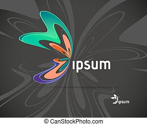 Abstract Vector Logo Design Template. Creative Butterfly...