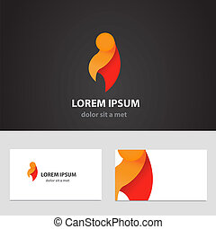 Abstract vector logo design template with business card