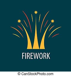 Abstract vector logo fireworks in the form of a crown