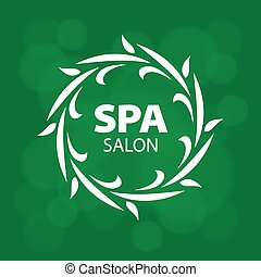 Abstract vector logo for a spa on a green background