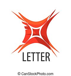 Abstract vector logo red letter X