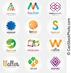 Abstract vector logo template set for branding and flat...