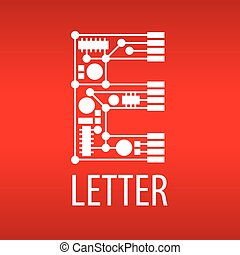Abstract vector logo the letter E in the form of a chip
