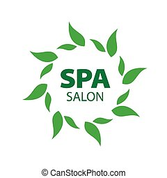 Abstract vector logo with green leaves
