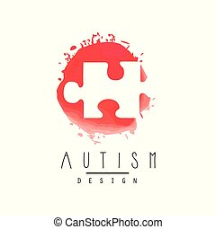 Abstract vector logo with puzzle. Symbol of Down Syndrome. Autism Awareness Day. Design for invitation, medical center or charitable organization