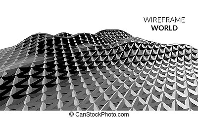 Abstract vector low poly geometric background in wireframe style