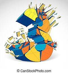 Abstract vector low poly wrecked number 3 with black lines and dots connected. 3d origami colorful futuristic font with lines mesh.