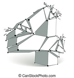 Abstract vector low poly wrecked number 4 with black lines and dots connected. 3d origami futuristic monochrome deformed font with lines mesh.