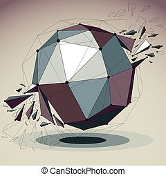 Abstract vector low poly wrecked object with black lines and...