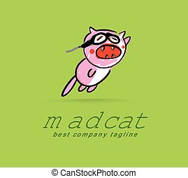 Abstract vector mad cat monster logo icon concept. Logotype template for branding and corporate design