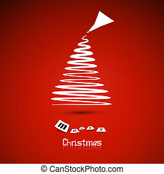 Abstract vector Merry Christmas theme - tree on red background
