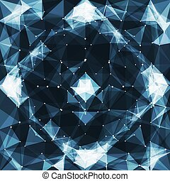 Abstract vector mesh background. Chaotically connected ...