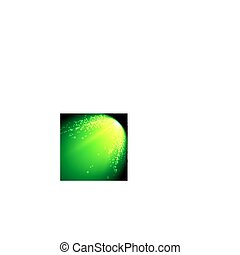 Abstract vector mesh background. Shinig comet with glowing poit tail on the green background. Futuristic style card. Elegant background for business presentations. Eps 10.