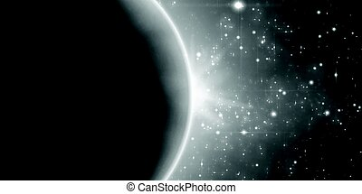 Abstract vector monochrome background with planet and...