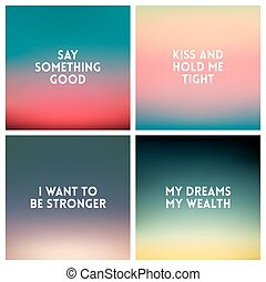 Abstract vector multicolored blurred background set. 4...