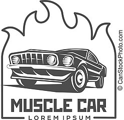 Abstract vector muscle car label