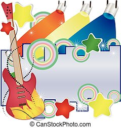 Abstract vector music background with a guitar and colorful spotlights