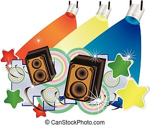 Abstract vector music background with speakers and colorful spotlights