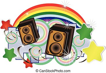 Abstract vector music background with speakers and wings