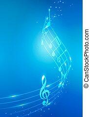 abstract, vector, muzieknota's, achtergrond