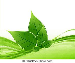 abstract Vector Natural eco green lives wave shiny design