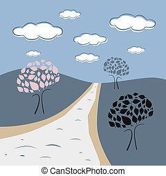 Abstract Vector Nature Scene with Trees, Road, Hills, Clouds