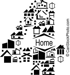 Abstract vector number 4 made from house icon - alphabet set.