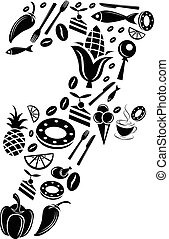 Abstract vector number 7 made from Food icon - alphabet set
