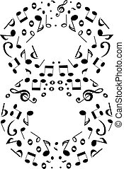 Abstract vector number eight made from music notes - numbers set