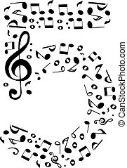 Abstract vector number five made from music notes - numbers set