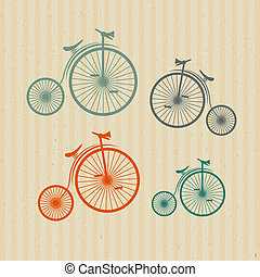 Abstract Vector Old, Vintage Bicycles, Bikes on Recycled Paper Background