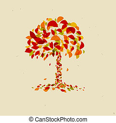 Abstract Vector Orange Tree
