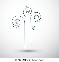 Abstract Vector Outlined Tree
