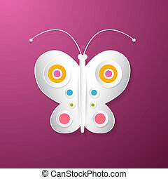 Abstract Vector Paper Butterfly on Pink Background