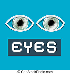Abstract Vector Paper Eyes Illustration on Blue Background