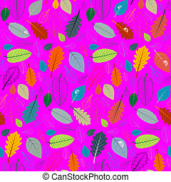 Abstract Vector Pink Retro Seamless Pattern - Autumn Leaves