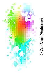 Abstract vector pixel background - butterflies & tropical...