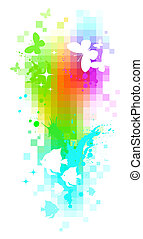 Abstract vector pixel background - butterflies & tropical fishes