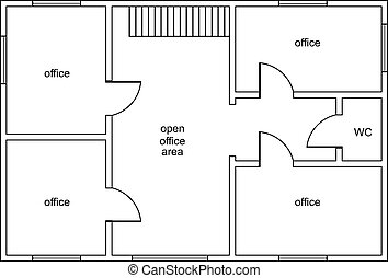 Abstract vector plan of office building