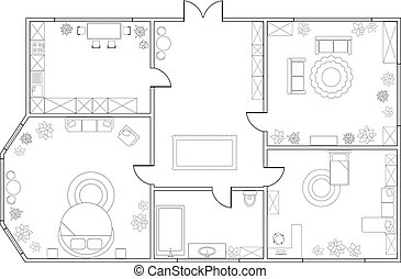 Abstract vector plan of two-bedroom apartment