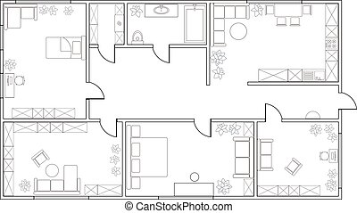 Abstract vector plan of two-bedroom apartment, with kitchen,...