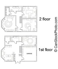 Abstract vector plan of two-story house with furniture - ...