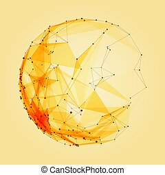 Abstract vector polygonal cyber orange sphere. Triangle spherical mesh background. Futuristic 3D illuminated distorted sphere of glowing particles and polygons. Digital splash. UI or HUD element.