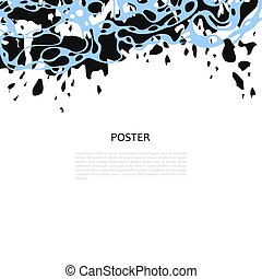 Abstract vector poster with black and blue chaotic lines, ...