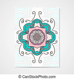 Abstract vector poster with floral ornament