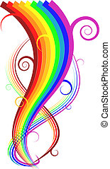 Abstract vector rainbow curves on white background
